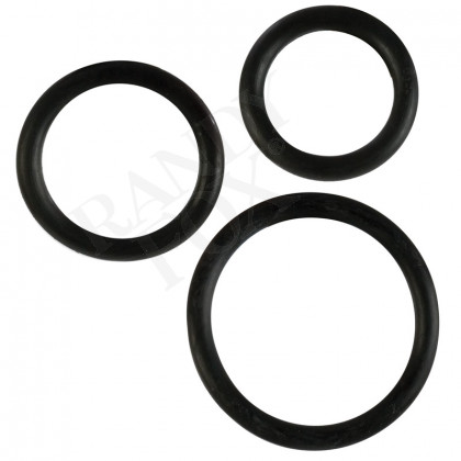 Black Rubber Cock Ring 3 pc Set