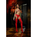 Sheer Garterbelt Pantyhose-Red